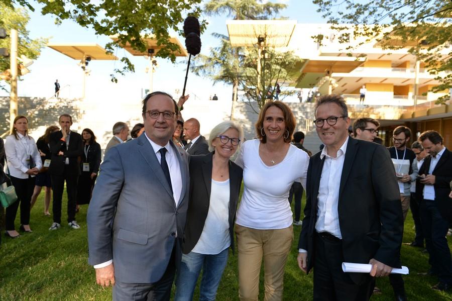 François Hollande, Odile Petit, Carole Ercole et Martin Hirsch
