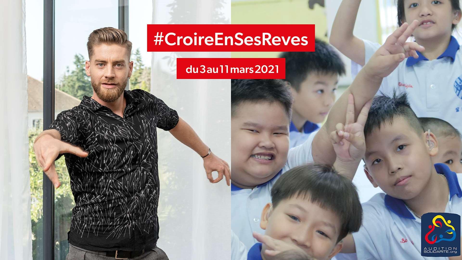 Yann-Alrick Mortreuil parrain de la collecte #CroireEnSesReves pour AuditionSolidarité